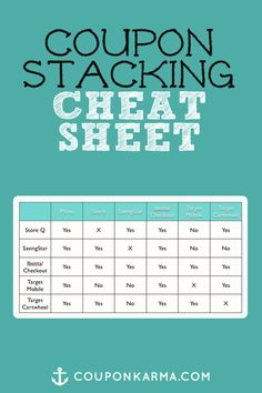 Use this coupon stacking cheat sheet as a refresher for which coupons you can stack!