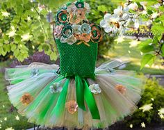 Baby Girl Over The Top First Birthday Tutu Outfit, Emerald Mint Green Gold, flowers Fabric Large Headband, Crochet tube Top Tinkerbell Dress