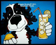puppy Bernese Mountain  dog Whimsical lemons by tangerinestudio, $45.00