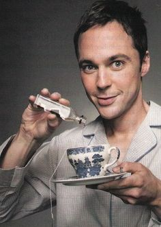 "Jim Parsons likes to add a bit of ""flavor"" to his tea like I do. lol"