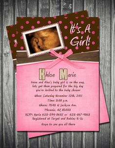 Pink and Brown Polka Dots Baby Shower Invitation by Sassygfx, $16.00