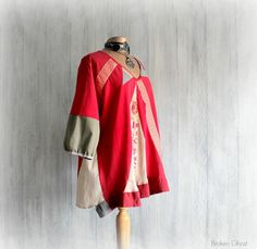 Red Upcycled Tunic Wearable Art Plus Size by BrokenGhostClothing