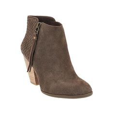 Sole Society Suede Woven Detail Ankle Boots ($100) ❤ liked on Polyvore featuring shoes, boots, ankle booties, suede ankle booties, block heel bootie, side zipper boots, side zip ankle boots and suede booties