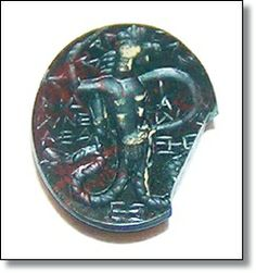 ROMAN INTAGLIO ABRAXAS GNOSTIC MAGICAL GEM HELIOTROPE c. 2nd - 3rd Century AD For sale on our website www.ancient-jewellery.com