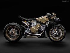 The motorcycle as art: a 2014-model Ducati 1199 Superleggera stripped of its bodywork.