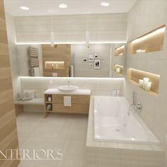 łazienka z wanną, łazienka z prysznicem Bathroom Design Small, Grey Bathrooms, Sweet Home, Bathtub, House Design, Architecture, Inspiration, Decor, New Houses