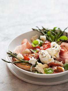 Burrata and Roasted Asparagus and Tomato Salad   foodiecrush.com