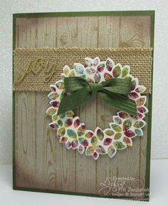 Baby Wipe Wreath Cards. Fun technique for rubber stamping takes just minutes to do and is a quick and easy WOW! use any baby wipes you have on hand. Free tutorial link provided.