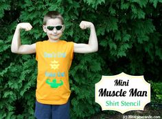 Sew Can Do: FREE SVG File: Mini Muscle Man Freezer Paper Stencil Shirts