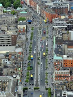 The Air Corps took these photographs of Dublin by air and they're stunning.O'Connell Street, with the Dublin Spire Dublin Street, Dublin City, Old Pictures, Old Photos, Big Ride, Most Romantic Places, Ireland Homes, Looking Out The Window, Ireland Travel