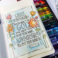 """This is lesson No. 8 in my new online class """"Bible Journaling & Lettering. Bible Study Journal, Scripture Study, Bible Art, Art Journaling, Scripture Journal, Bible Words, Bible Scriptures, Bible Quotes, Bible Drawing"""