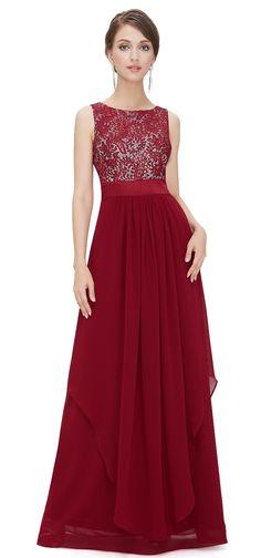 ALICE Cranberry Lace Chiffon Dress - www.eloises-secret-closet.co.uk