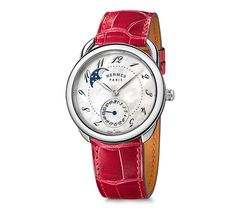 """Arceau Hermes steel watch, diameter 38mm, white mother-of-pearl dial, automatic movement, long interchangeable smooth ember alligator leather strap<br><br><span style=""""color: #F60;"""">This item may have a shipping delay of 1-3 days.</span><br><br>"""