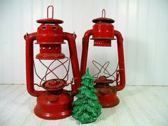 Vintage Fire Engine Red Rustic Metal Lanterns Pair - Dietz Junior 20 & Globe Light 505 Well Aged Rusty Duo - Shabby Chic Holiday Decorations $37.00 by DivineOrders