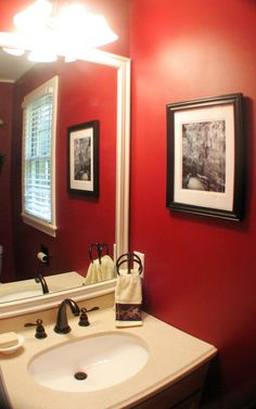 Red Bathroom Inspiration Red bathrooms Bathroom cabinets and