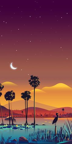 Sükut-u Lisan Selameti İnsan Desert Night Oasis with Palm Trees - Vector Art Wallpaper Apple Wallpaper, Galaxy Wallpaper, Cellphone Wallpaper, Lock Screen Wallpaper Iphone, Scenery Wallpaper, Nature Wallpaper, Cool Wallpaper, Hero Wallpaper, Phone Backgrounds