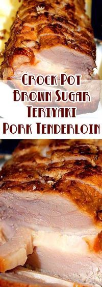 Recipe for Crock Pot Brown Sugar Teriyaki Pork Tenderloin - The ease of the crockpot and the delicious flavors of this Crock Pot Teriyaki Pork Tenderloin make this recipe a real winner! (Teriyaki Chicken In Crockpot) Crock Pot Recipes, Crock Pot Food, Crockpot Dishes, Pork Dishes, Slow Cooker Recipes, Cooking Recipes, Crockpot Porkloin Recipes, Crockpot Pork Recipes, Crock Pots
