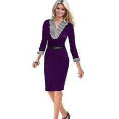 Women's Shirt Collar Stitching Stripe Bodycon Long Sleeve Pencil Dress(More Colors) – USD $ 22.79