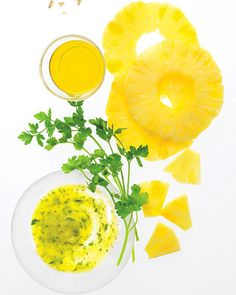 pineapple face scrub. 2/3 cup fresh pineapple chunks (room temp), 1/4 cup cold-pressed olive oil,  1/4 cup fresh, clean parsley -chopped. Pulse pineapple in a blender, then add oil until almost smooth. Add parsley, and blend carefully so mask doesn't liquefy. Apply to skin and leave on for 15 minutes.