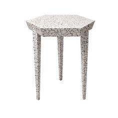 Tolux Hexagonal Side Table in Cracked Eggshell