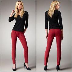 J Brand 811 Skinny Jeans Size 25 Black Cherry Twill Red Midrise #WonensJeans #SkinnyJeans #Skinnies #JBrand #ColoredJeans #DesignerJeans #Jeans #OnlineThriftBoutique