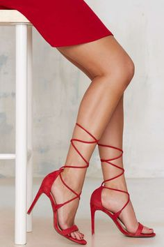 sexy red lace up heels