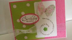 Birthday Wishes Card in Pink and Green with butterfly