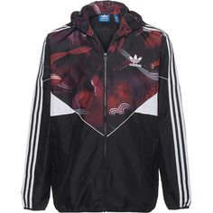 ADIDAS ORIGINALS CT Colorado Red Black // Windbreaker with print ($98) ❤ liked on Polyvore featuring men's fashion, men's clothing, men's activewear and vintage mens clothing