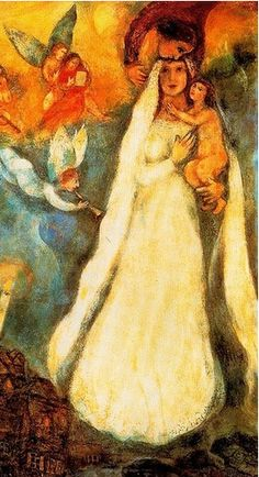 By Marc Zaharovich Chagall (1887-1985),  Madonna of the Village (detail).