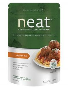 Neat Italian Mix plant-based proteins for Italian dishes. PECANS, GARBANZO BEANS, GLUTEN FREE WHOLE GRAIN OATS, GARLIC, ONION, SEA SALT, SPICES.