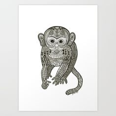 Buy Monkey Art Print by janinasteger. Worldwide shipping available at Society6.com. Just one of millions of high quality products available.