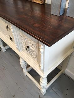 Timeless Charm thrilled us with intricate buffet. The body was painted in Linen Milk Paint while the top was stained with Java Gel Stain. See more charming pieces painted in Linen Milk Paint by going to the GF Design Center at http://designs.generalfinishes.com/tags/linen.