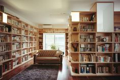 and more books. Someday I want this many bookshelves in my house. Living Room Bookcase, Wall Bookshelves, Study Room Design, Interior Architecture, Interior Design, Dream Library, Home Libraries, Reading Nook, House Rooms