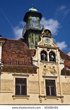 Austria++dancing | Tower clock with dancing dolls, Graz, Styria, Austria - stock photo