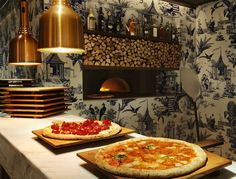 208 Duecento Otto restaurant by Autoban, Hong Kong store design, pizza oven, expo kitchen, wood burning oven