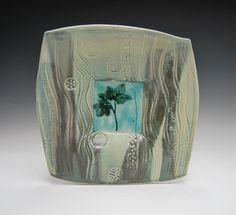 Bridget Mcvey - Porcelain plate, various copper glazes, oxidisation gas fired. 30cm x 30cm (BM151)