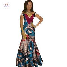 African Women Dashiki Print Bazin V-Neck Long Dress African Dashiki Dress, Long African Dresses, African Fashion Dresses, African Fashion Designers, African Print Fashion, Africa Fashion, African Attire, African Wear, African Women