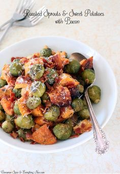 Roasted Sprouts and Sweet Potatoes with Bacon