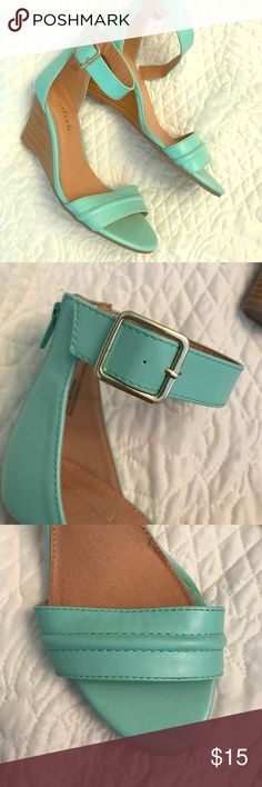 Charming Charlie Mint Wedges Size 8, only worn once, no scratches or scuffs, mint turquoise color Charming Charlie Shoes Wedges