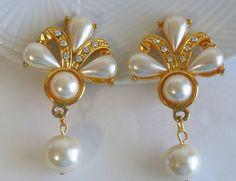 Vintage Pearl Rhinestone Clip Earrings, Wedding Earrings, Bridal Pearl Clip-On earrings, Gold Tone Clip Earrings by Antiqueandsupplies on Etsy
