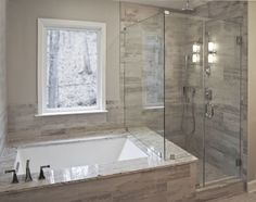 Bathroom Remodel By Craftworks Contruction Glass Enclosed Shower Drop In Tub Surrounded Grey