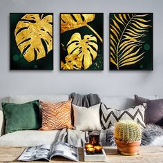 Plant Painting, Diy Painting, Painting Canvas, Home Wall Art, Wall Art Decor, Scandinavian Paintings, Painted Leaves, Wall Art Pictures, Living Room Pictures