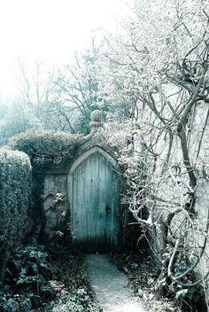 frosty blue door - entrance to a secret garden in Castle Coo.- frosty blue door – entrance to a secret garden in Castle Coombe. frosty blue door – entrance to a secret garden in Castle Coombe. Secret Garden Door, Garden Doors, Garden Gates, Garden Entrance, Porches, Entrance Doors, Doorway, Entrance Ideas, Winter Garden
