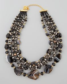 Jose & Maria Barrera Four-Strand Black Agate Bead Necklace from Neiman Marcus on shop.CatalogSpree.com, your personal digital mall.