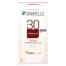 Ombrelle Complete Extreme SPF 30 Lotion is a moisturizing sunscreen that may be used daily, all year-round on the body and the face. This lotion with patented filtration system provides broad spectrum photostable protection against UVA and UVB rays.  Compared to Ombrelle Complete SPF 30 Lotion, Complete Extreme SPF 30 is composed of one additional filter – Titanium dioxide – for incremental protection.