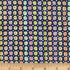Michael Miller Fabrics Melodies by Sarah Campbell Navy Button Spot | Fabric