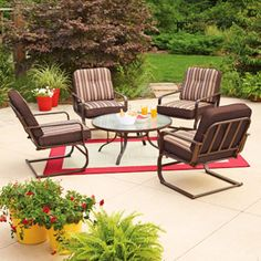 Mainstays Lawson Ridge 5-Piece Patio Conversation Set, Brown, Seats 4