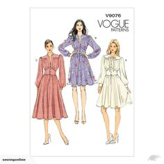 Pullover dress has collar, yoke extending into front band,loose-fitting bodice, midriff, sleeves with seam opening and button cuffs, and front button and snap (...