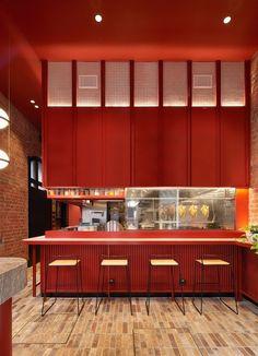 2020 Eat Drink Design Awards shortlist: Best Restaurant Design | ArchitectureAU Red Restaurant, Restaurant Poster, Restaurant Design, Coffee Shop Interior Design, Cafe Interior, Feng Shui, Supermarket Design, Counter Design, Shop Interiors