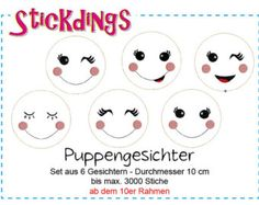 "Instant Download Machine Embroidery Design ""Doll Faces / Puppengesichter"" Stickdatei Stickmuster"